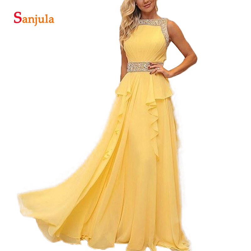 Sequins Beaded Yellow   Bridesmaid     Dresses   2018 Custom-made Long Chiffon Women Party Gowns A-line Wedding Guest Dresss BY11