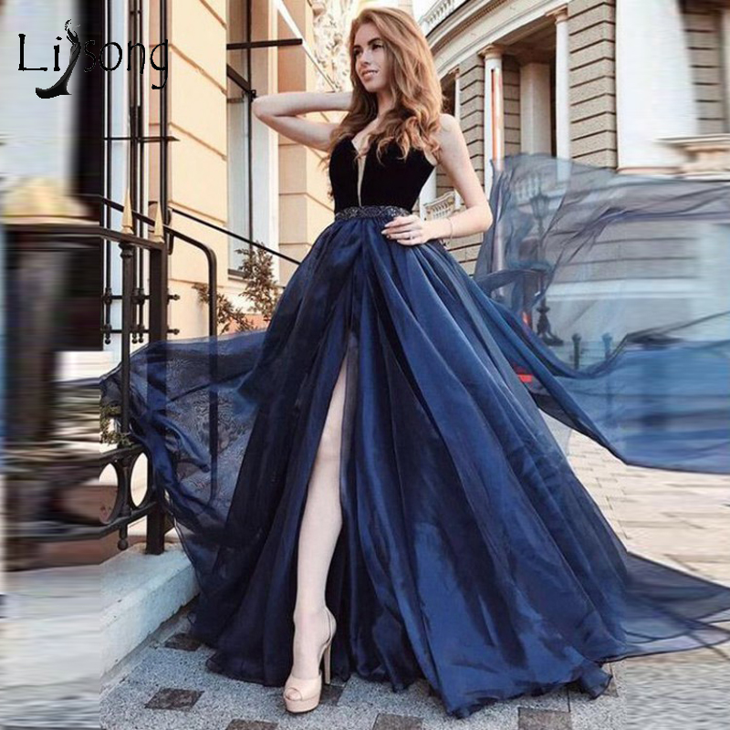 Sexy Dark Navy Blue Long   Evening     Dresses   High Side Split Prom Gowns With Sparkle Crystal Beaded Sash A-line Gown Robe De Soiree