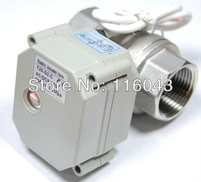 ФОТО Free shipping DN25 AC/DC9-24V 2 wires BSP/NPT 1'' Stainless Steel Valve 2 Way Normal Closed Valve With Postion Indicator