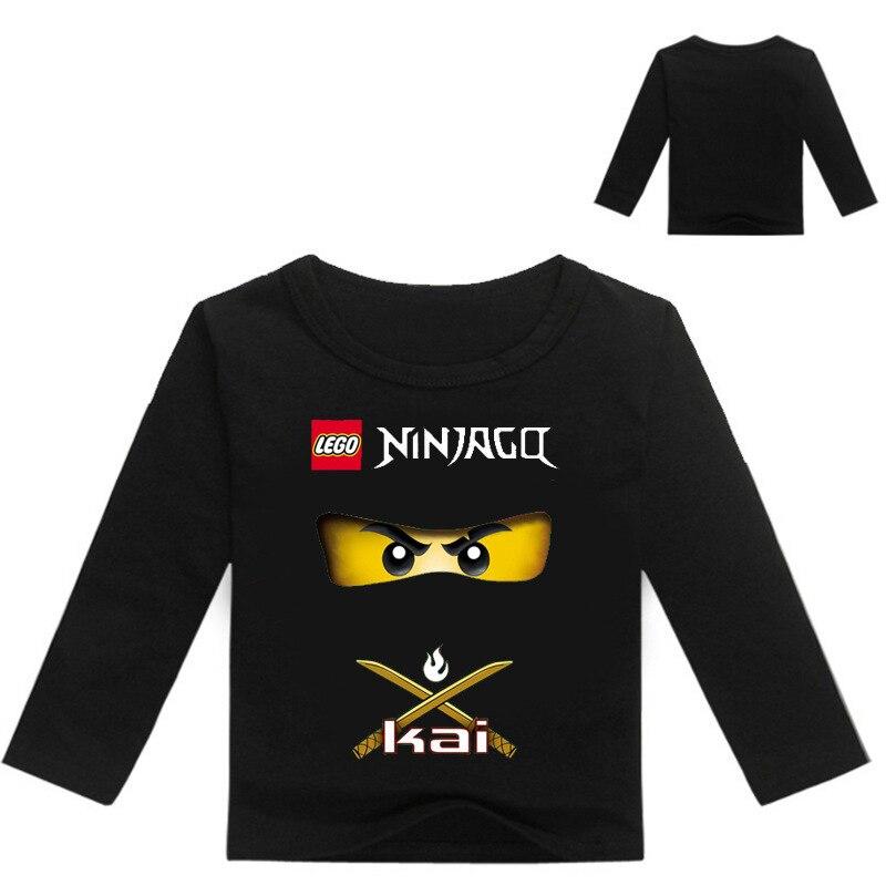 Camiseta de algodão para crianças, camiseta de manga longa para meninos e meninas, roupas ninja ninjago, primavera e outono 2019 camisetas