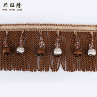 XWL 12M Lot Beads Tassel Fringe Curtain Lace Trim DIY For Sewing Drapery Sofa Stage Decorative
