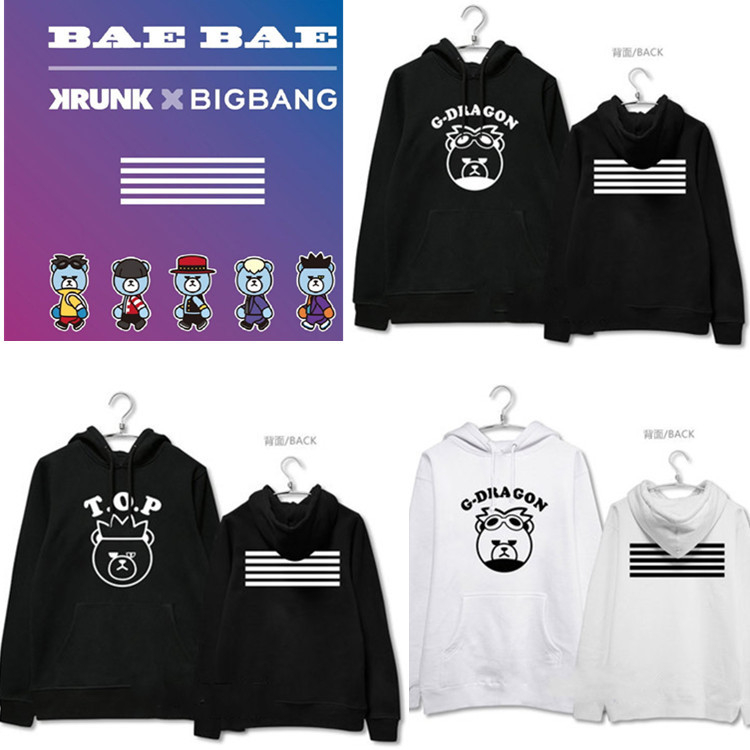 2017 new album Kpop Bigbang by cartoon men women hoodie hoodies k-pop Bigbang spring autumn black white tops Sweatshirts
