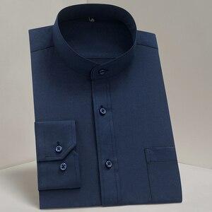 Image 4 - Chinease Stand Kraag Solid Plain Regular Fit Lange Mouwen Party Mandarijn Bussiness Formele Shirts Voor Mannen Met Borstzak