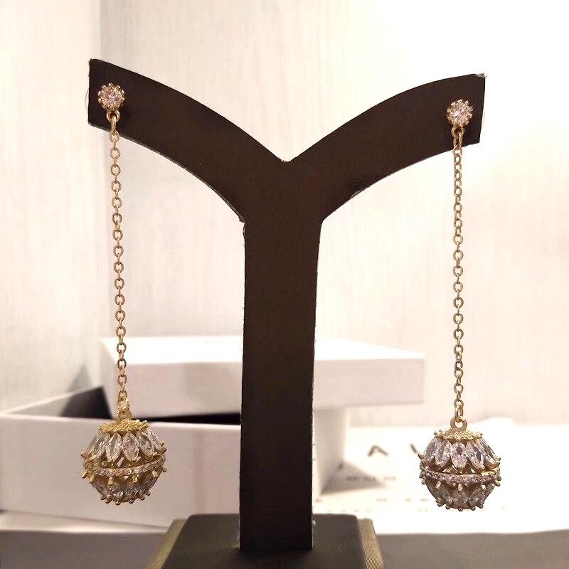 Longues boucles d'oreilles pendantes exquise perles creuses Zircon cubique boucles d'oreilles bijoux d'oreille