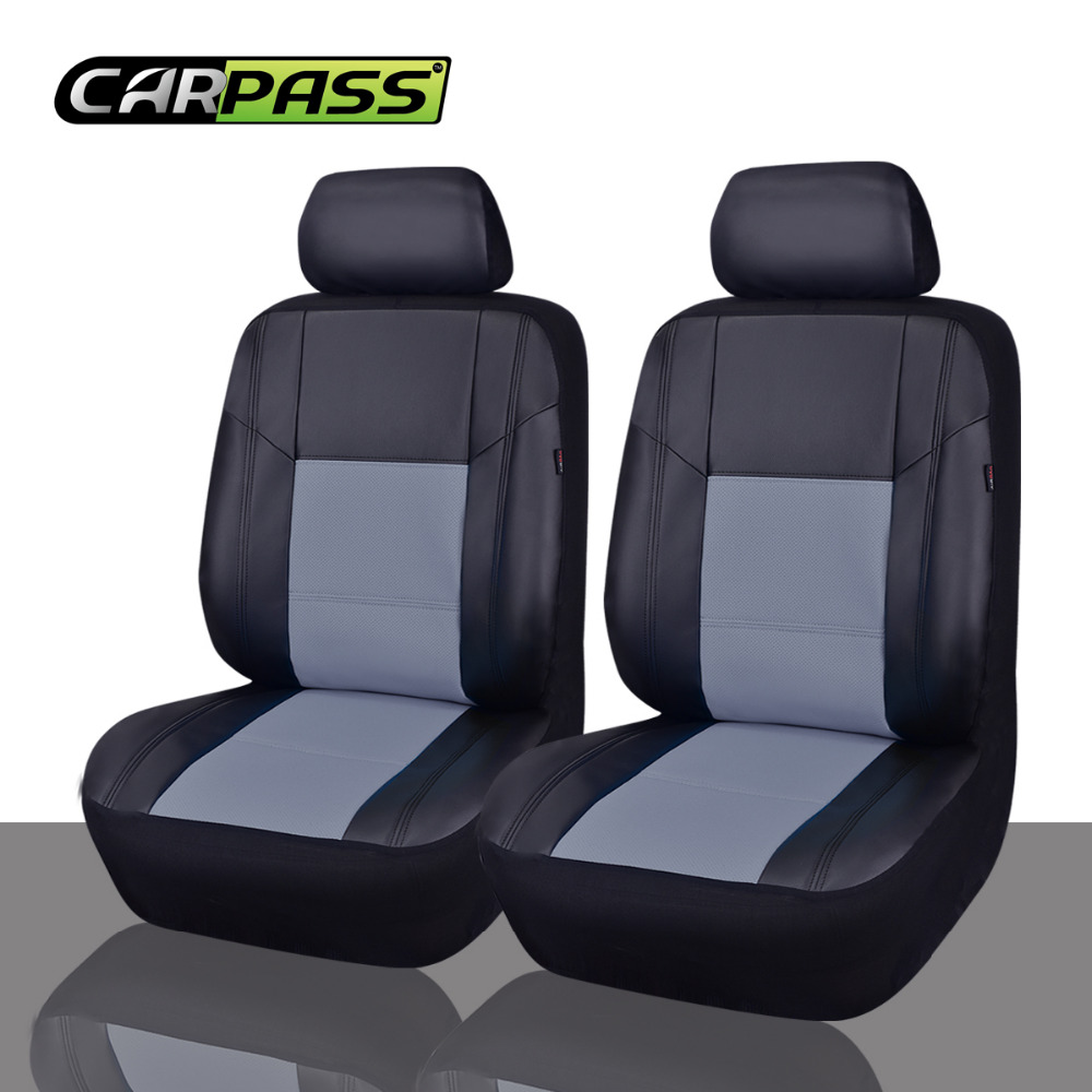 Car pass Universal PU Leather Auto Car Seat Covers 2 Front Seat ...