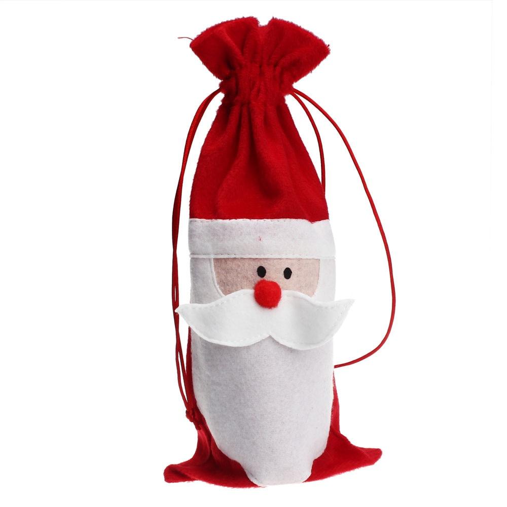 Botol Anggur Tas Penutup Dekorasi Rumah Pesta Santa Claus Senapan Dinir Natal Strawstring Dinner Table Decor Perlengkapan