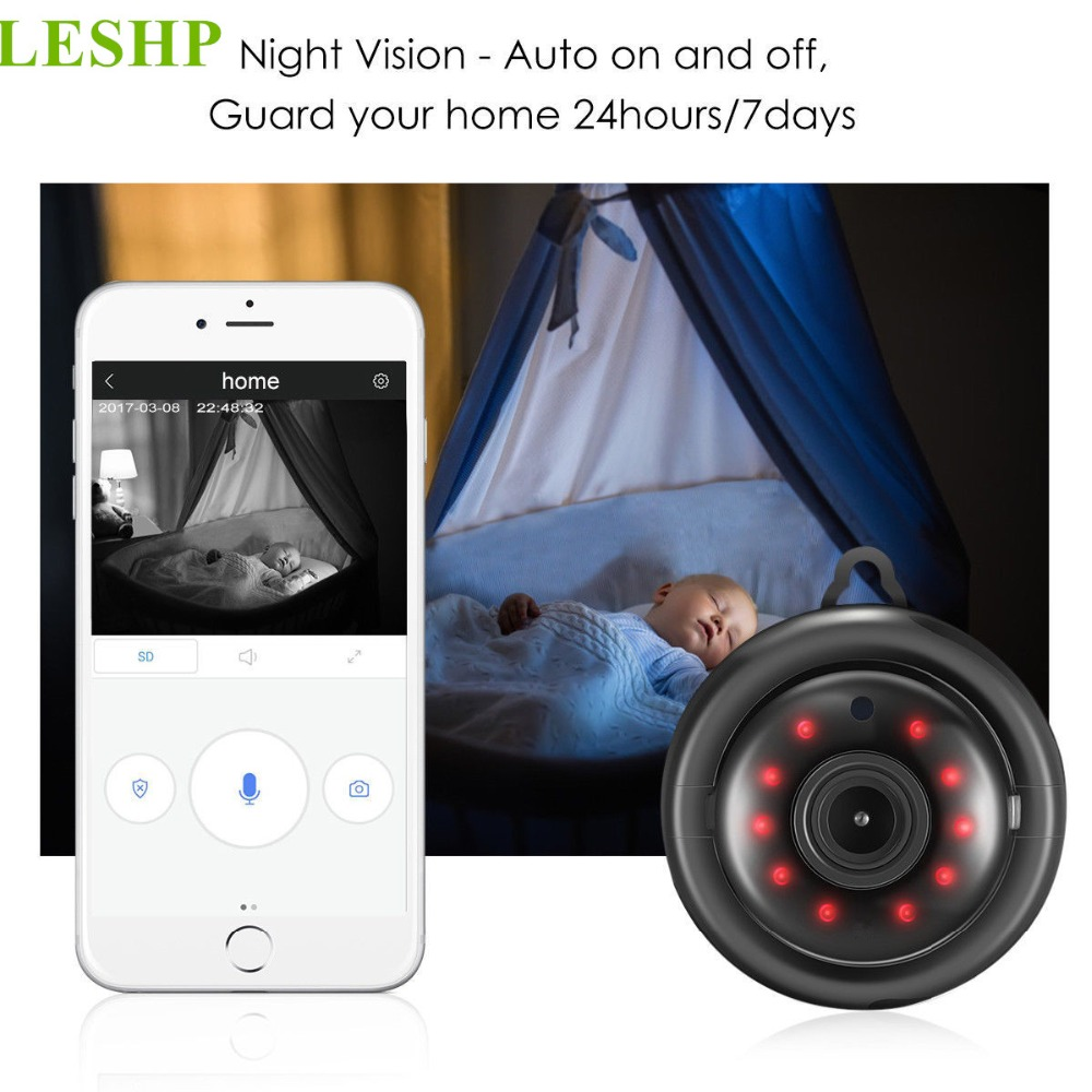 LESHP HD 960P WIFI Mini IP Camera With Mic Speaker Wireless Smart Night Vision Home Security Monitor Support TF Card leshp home security monitor ip camera hd wireless wifi camera surveillance ir night vision baby monitor with mic support tf card