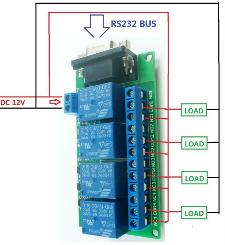 DC 12V 4 Channel RS232 Relay Board PC USB UART DB9 Remote Control ...