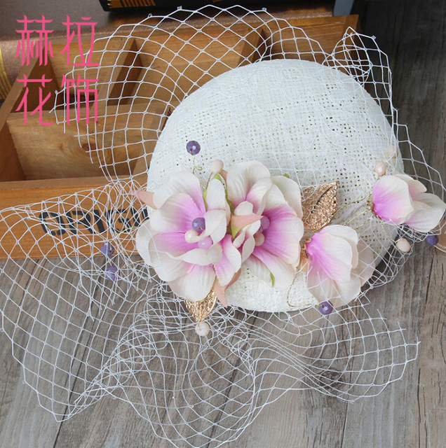 Gorgeous bridal floral Hat Topper fascinator lace Hair ornaments pearl headpiece Wedding hat Photograph Accessories Gifts