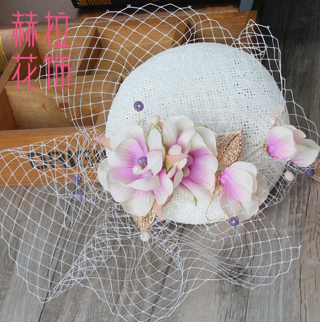 Nupcial magnífico floral Topper Sombrero fascinator encaje adornos Para El Pelo de la perla Accesorios de Fotografía sombrero casco de La Boda Regalos