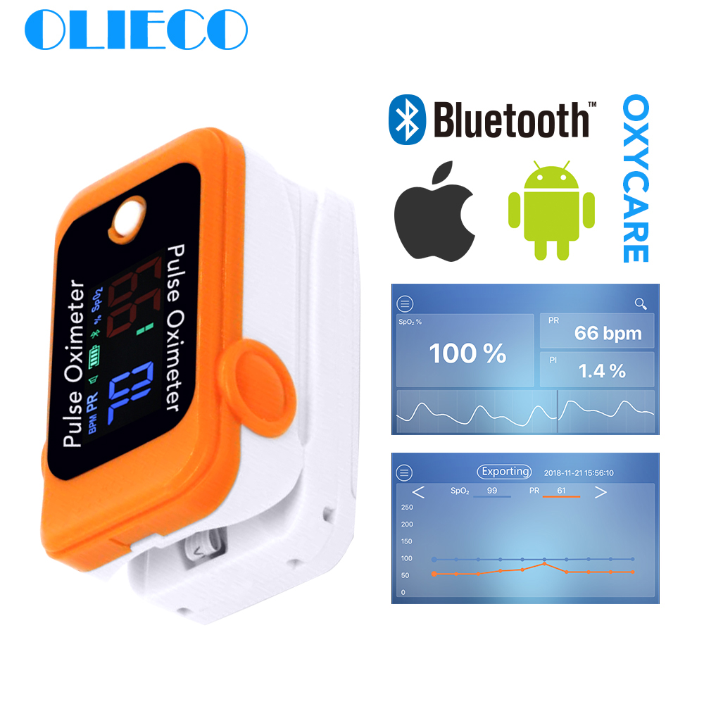 Olieco android ios bluetooth 4.0 oxímetro de pulso ponta do dedo exato inteligente doméstico criança adulto app oximetro pulso laranja cinza pr