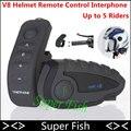 V8 Moto BT Bluetooth Intercomunicador Del Casco de Auriculares 5 Jinete 1200 M Hablar al Mismo Tiempo NFC de Control Remoto FM Radio V8 Interfono
