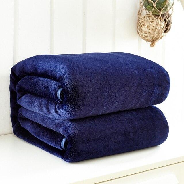 Navy Blue Plain Coloured French Velvet Soft Flannel Bedspread Blanket Throws Fleece For Sofa