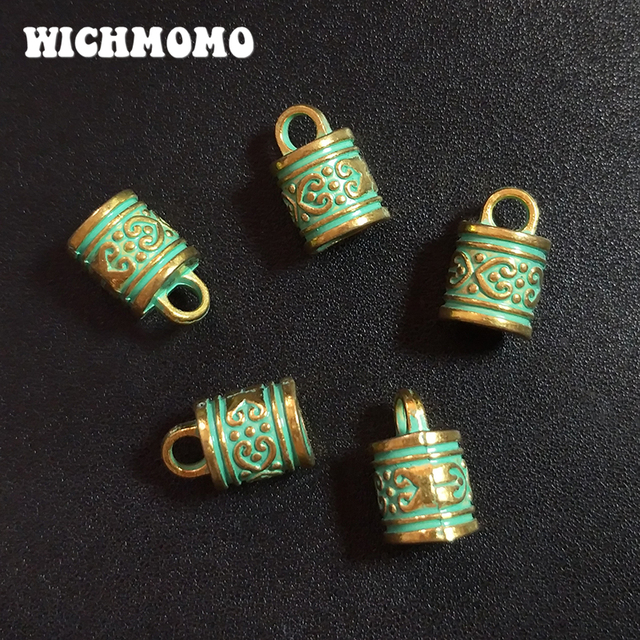 10pcs 16MM Patina Plated Zinc Alloy Green Tassels End Cap Charms Pendants For DIY Necklace Bracelet Connectors Jewelry Findings