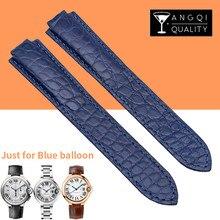 57c40595733 Pulseiras de Relógio de crocodilo Jacaré para Cartier Ballon Azul Genuine  Leather Assista Banda Strap Pulseira Senhora 14 16 18 .