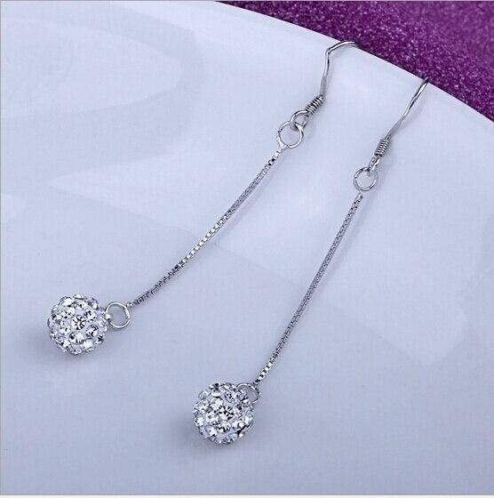 Trendy Vintage Long Earrings For Women Silver Hook Crystal Round Drop Dangle Earrings