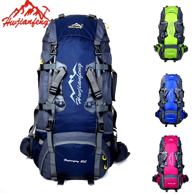 цена на 80L Unisex Large Outdoor Waterproof Backpack Camping Travelling Climbing Hiking Nylon Sports Bag Backpack Rucksack