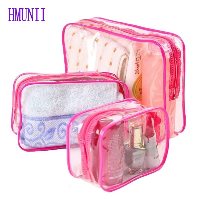3PCS SET Fashion Transparent Waterproof PVC Storage Bag Women Cosmetic  Makeup Bag Holder Organizer Men Travel Toiletry Wash Bag 3dc8df3e2bd67
