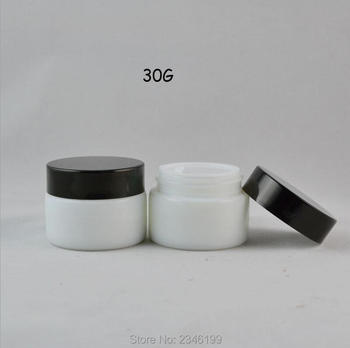 30G 20pcs/lot White Glass Cosmetic Cream Container, DIY Top Grade Glass Cream Jar, Cosmetic Mask Refillable Box, Beauty Tool
