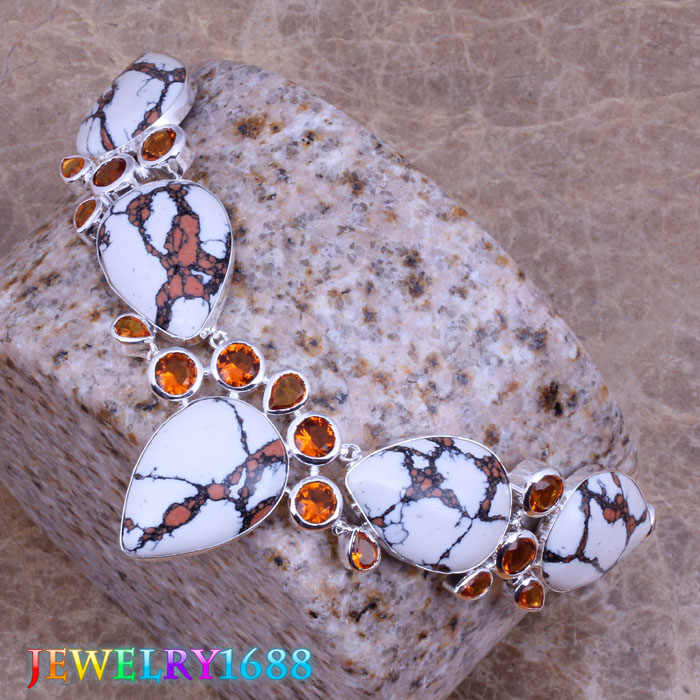 Luxurious White Natural Stone Red  Garnet 925 Sterling Silver   Grade  Necklace L568