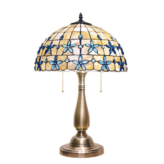 Tiffany Table Lamps Blue Flower Shell Cover Desk Light For Living Room  Bedroom Lighting