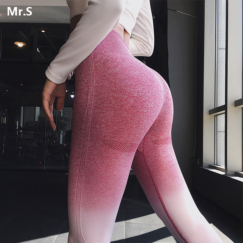 Women Ombre Seamless Leggings Blue Gradient Yoga Pants Push Up Fitness Gym Scrunch Butt Legging Tummy Control Workout Tights