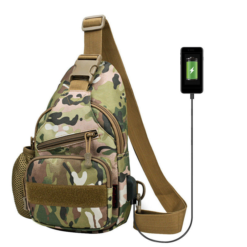 USB Charging Port 600D Nylon Outdoor Shoulder Military Camping Hiking Bag Tactical Backpack Utility Camping Travel Trekking Bag
