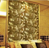 New Wallpaper European Style Luxury Gold Foil Aristocratic Reflective Plant Lounge Bar KTV Background Wallpaper Wall