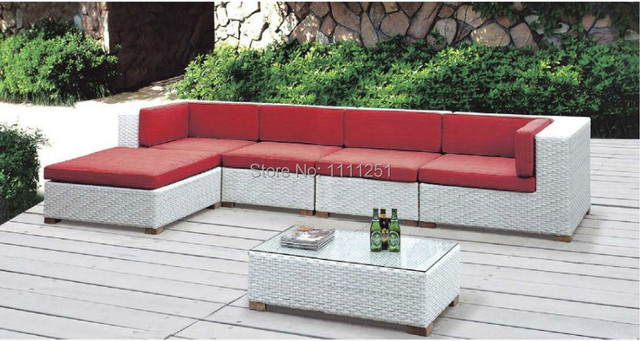 2014New Wicker Rattan Outdoor Furniture Lounge Sofa Setting Chair Sunbrella  Fabric