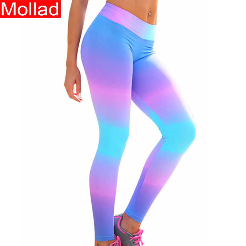 Hot Selling Rainbow Print Women Push UP Sexy Fitness Leggings Ombre Color Leggings 1