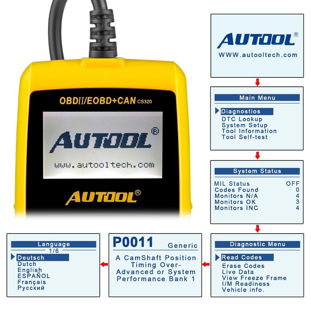 AUTOOL OBD2 Auto Code Reader Scanner OBD 2 II Car Scan Auto Diagnostic Tool  CS320 PK AD310 Launch X431 OM123
