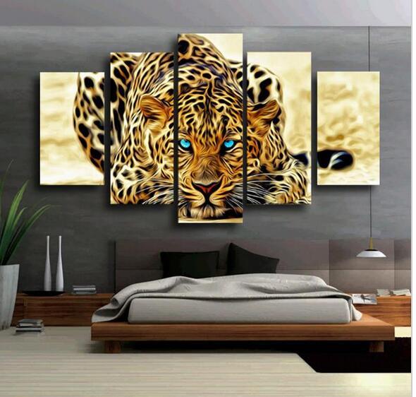 5 unids amarillo abstracto leopardos grande hd lienzo for Decoracion de paredes con cuadros grandes