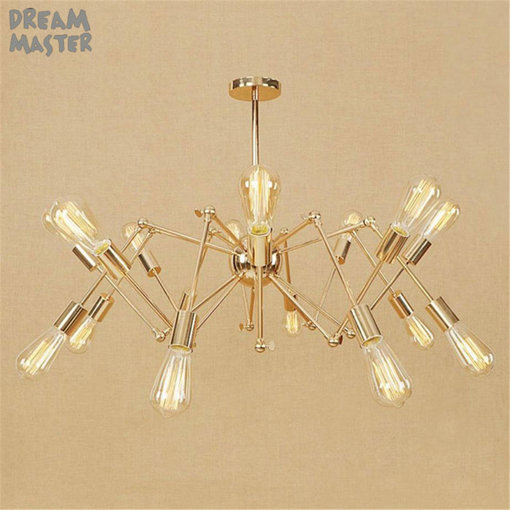 Nordic style gold chandelier modern minimalist living room dining room lustres lamp industrial spider 6/8/10/12/16 lightsNordic style gold chandelier modern minimalist living room dining room lustres lamp industrial spider 6/8/10/12/16 lights