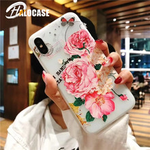 HALOCASE Relief Flower  Cases for iPhone 7 Plus 8 Rose Peony fashion Soft Silicone Case 6 6s plus plu