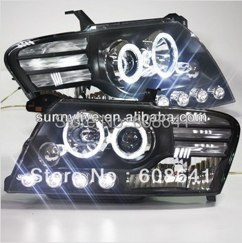 2000-2010 anno Pajero Montero V73 V75 V76 V77 V78 LED Angel Eyes Head Light con Bi Xenon Proiettore lente