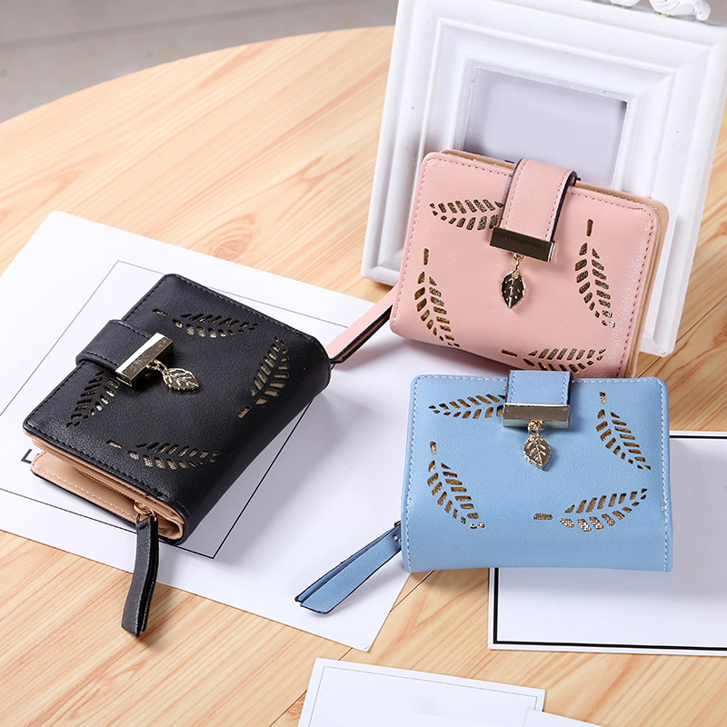 Famous Brand Luxury Women Wallet Cute Leaf Purse Female Small Wallet Short Coin Card Holder Ladies Clutch