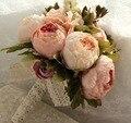 Peônias de seda Casamento Flores buque de noiva rosa Rosa Artificial Bouquet De Noiva flores de seda parágrafo hum casamento gelin pembe buketi