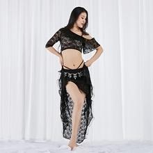 Dance Wear Girls Long Skirt Women Belly Sexy irregular Outfit Floral Lace Elastic Off Shoulder Dresses over-skirt