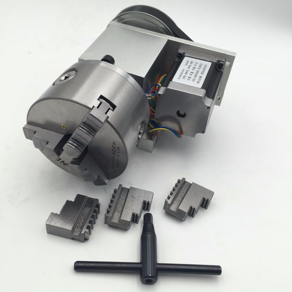 4th Rotary Axis Hollow Shaft 3Jaw 100mm Lathe Chuck A Rotational Axis CNC Engraving Milling Machine4th Rotary Axis Hollow Shaft 3Jaw 100mm Lathe Chuck A Rotational Axis CNC Engraving Milling Machine