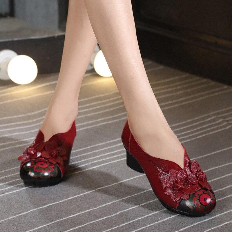 ФОТО Original handmade vintage ethnic women pumps shoes medium heels spring and autumn casual women shoes platform