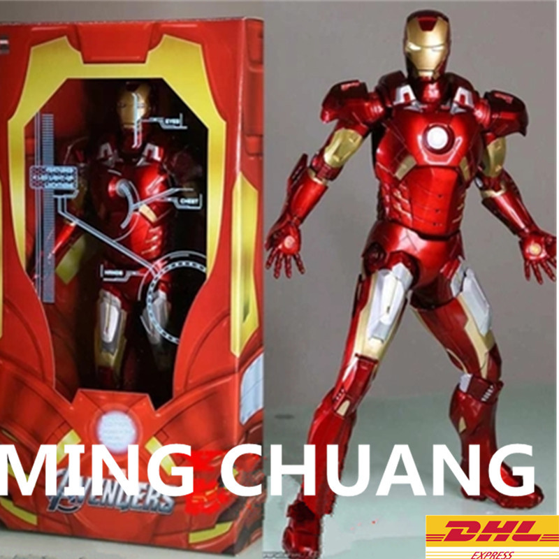 NECA Avengers:Infinity War Iron Man MK47 Justice League Superhero Red 1/4 18 With LED Light Action Figure Collectible Model Toy