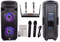 STARAUDIO Pro 4500W 15PA FM DJ Stage Active Powered SD USB MP3 BT RGB LED Light Speaker 2 Wireless Mics W/2CH UHF Mic SDM 15RGB