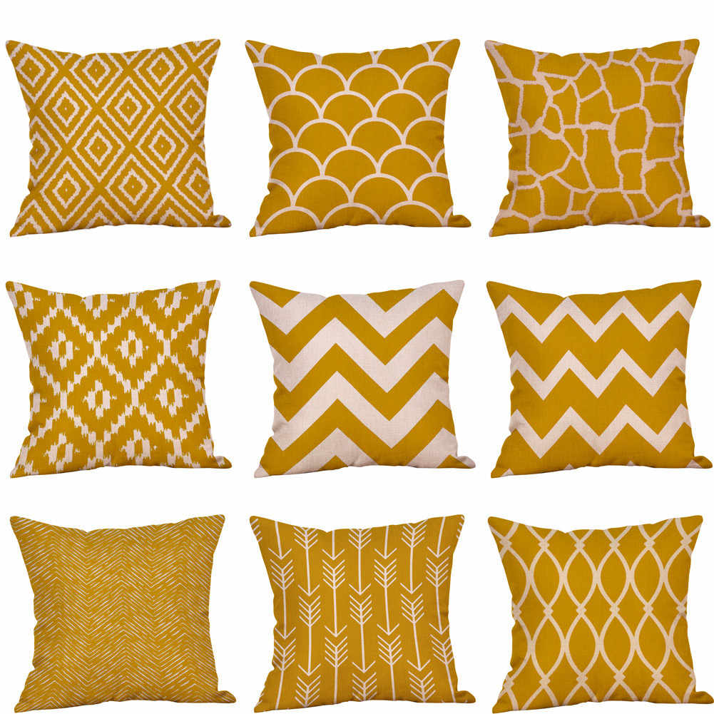 Cojines Housse de Coussin Mustard Pillow Case Yellow Geometric Fall Autumn Cushion Cover Decorative Funda Cojin Kussenhoes