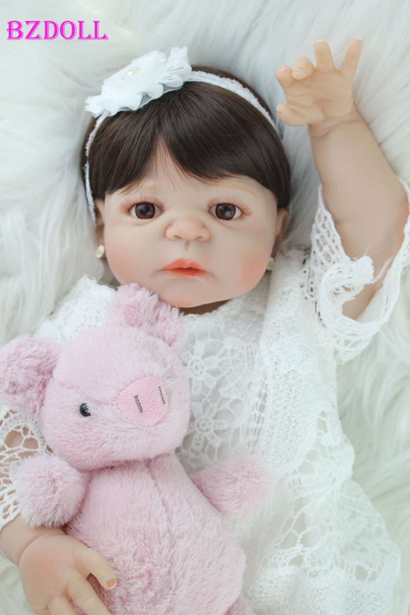 BZDOLL 55cm Full Silicone Body Reborn Girl Baby Doll Toy Lifelike Vinyl Princess Toddler Doll Birthday Gift Girl BrinquedosBZDOLL 55cm Full Silicone Body Reborn Girl Baby Doll Toy Lifelike Vinyl Princess Toddler Doll Birthday Gift Girl Brinquedos