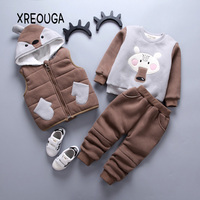 2018 Autumn Baby Girl Boy 3pcs Clothing Sets Cartoon Bear Winter Warm Toddler Vest Shirt Pants