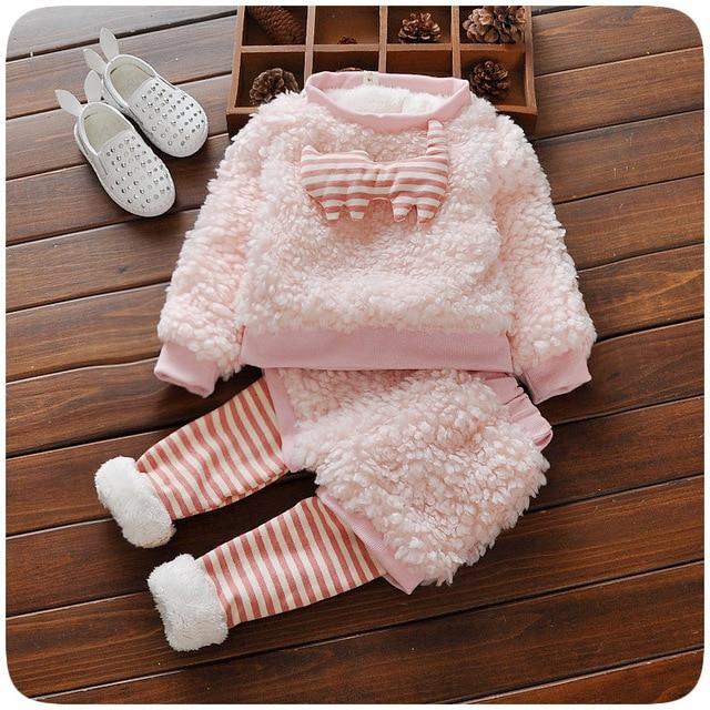 Малыш девушки младенческой розовый овечьей шерсти одежда наборы зимние пальто + брюки 2 Шт. принцесса enfant детские девушка одежда Детская Одежда