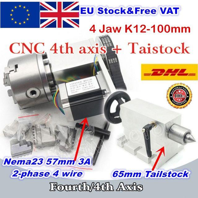 [האיחוד האירופי משלוח] K12 100mm 4 לסת צ אק 100mm CNC 4th ציר (aixs, ציר סיבובי) & Tailstock עבור מיני CNC נתב/נגרות engravin