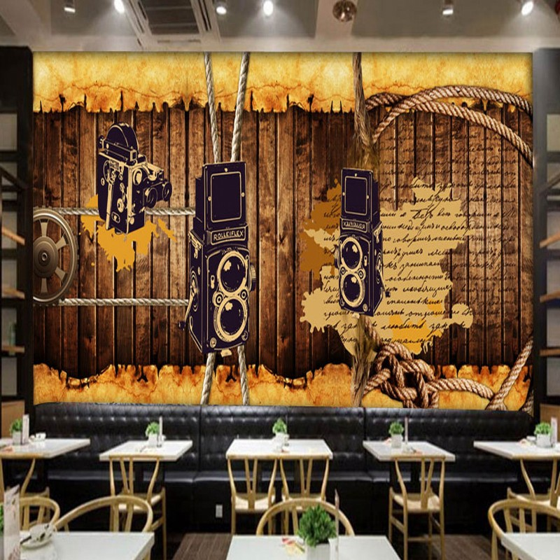 7c5adc3c99d72a Foto behang retro nostalgische behang restaurant studio muurschildering  board touw gear bar koffie winkel achtergrond behang in Foto behang retro  ...