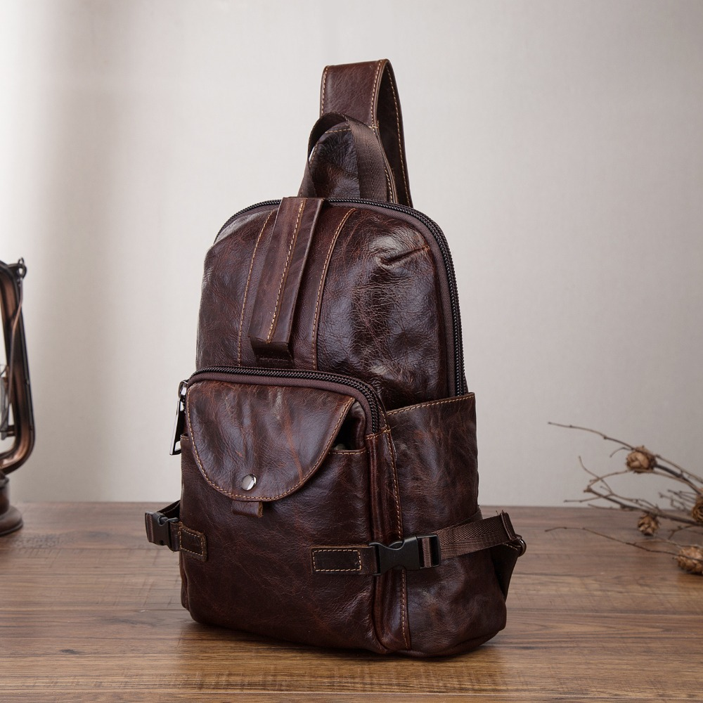 Original Leather Men Casual Fashion Travel Triangle Chest Sling Bag Coffee Design 10