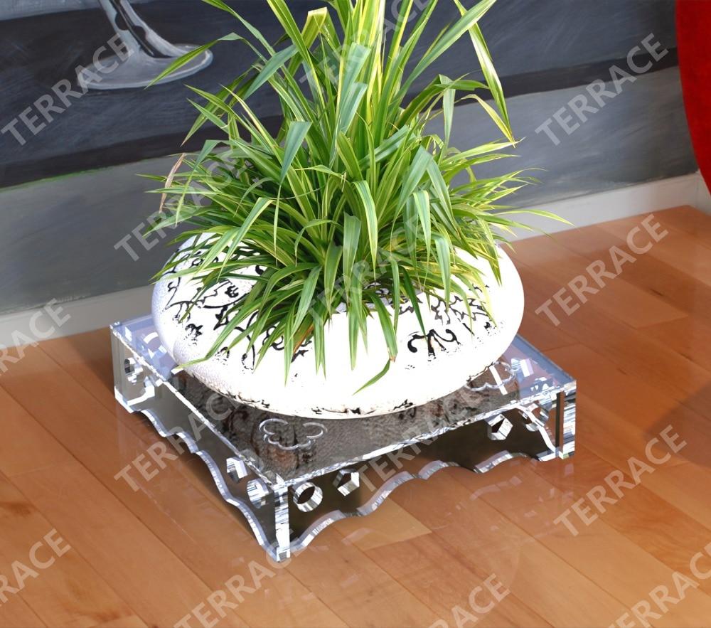 Support de fleur acrylique Lucite solide, Pot de plantes en plexiglas